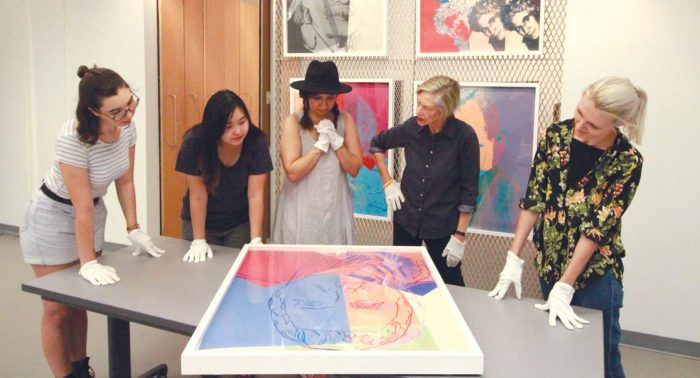 Examining Andy Warhol prints Joan Goldfarb Visual Arts Study Centre